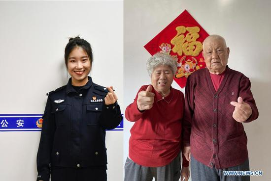 Combo photo shows Yang Xiaohui making a hand heart gesture at a local police station in Hongqiao District of Tianjin, north China, Feb. 11, 2021 (L, photo taken by Sun Fanyue), and her grandparents making hand heart gestures at home in Handan, north China's Hebei Province, Feb. 11, 2021 (R, photo taken by Wang Hongchao). Yang Xiaohui, 24, is a police officer serving the communities in Tianjin City. This year Yang chose to stay put at her position during the Spring Festival, and it was the first time she didn't return home for this occasion. As a part of the preventative measures against COVID-19, China has encouraged people to stay locally for the Chinese New Year. Many Chinese chose not to go back to their hometowns for family gatherings, opting instead to stay where they were for the most important holiday of the year. Xinhua reporters helped those who didn't go back to their hometowns
