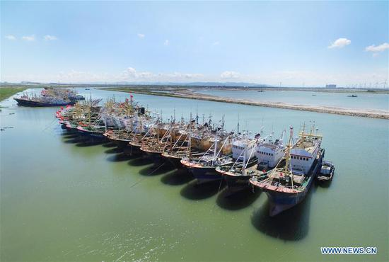 Fishing boats are seen at berth at a harbor in Songmen Township of Wenling City, east China's Zhejiang Province, July 9, 2018. A yellow-level alert has been issued and third-level emergency response has been activated to cope with approaching typhoon Maria, the eighth typhoon this year, in China's coastal provinces. (Xinhua/Liu Zhenqing)
