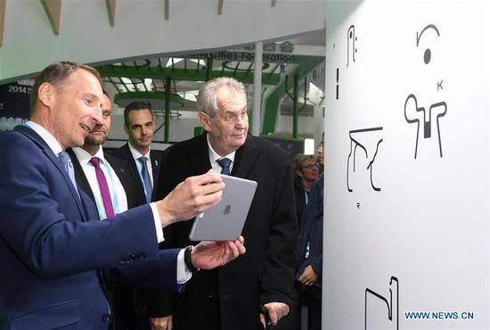 Czech President Milos Zeman visits the Czech Republic booth at the International Pavilion of the International Horticultural Exhibition 2019 Beijing, in Beijing, capital of China, April 28, 2019. (Xinhua/Chen Yehua)