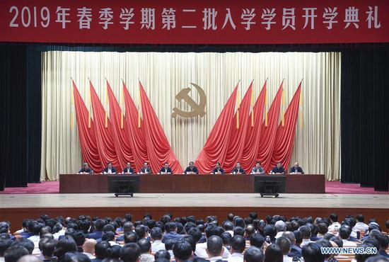 Chen Xi, a member of the Political Bureau of the Communist Party of China (CPC) Central Committee and president of the Party School of the CPC Central Committee, attends the opening ceremony of the school's 2019 spring semester for the second intake of students in Beijing, capital of China, May 15, 2019. (Xinhua/Zhang Ling)