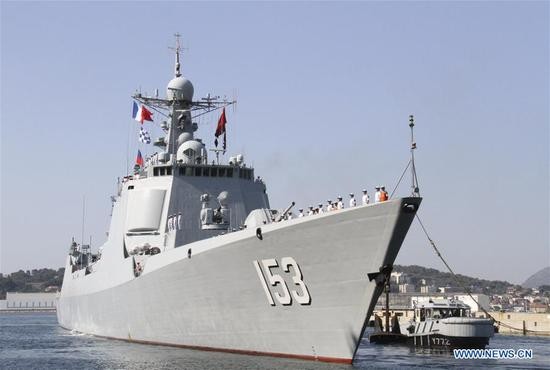 Chinese missile destroyer Xi'an arrives at Toulon port, in southern France, July 1, 2019. The 32nd Chinese naval escort fleet missile destroyer Xi'an arrived here Monday for a five-day visit. (Xinhua/Yang Yimiao)