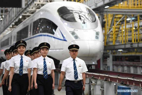 Trainees attend the training course in Xi'an, northwest China's Shaanxi Province, July 22, 2019. A total of 29 female trainees recently attended the training courses composed mainly of basic knowledge on high-speed railway as driving regulations and skills. Those who passed the training courses will become the first batch of female bullet train drivers in China. (Xinhua/Li Yibo)