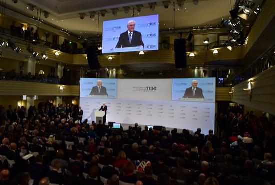 German President Frank-Walter Steinmeier addresses the 56th Munich Security Conference (MSC) in Munich, Germany, on Feb. 14, 2020. (Xinhua/Lu Yang)