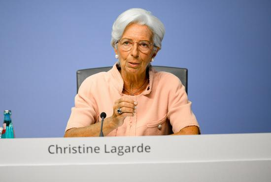 European Central Bank (ECB) President Christine Lagarde speaks at a press conference at the ECB headquarters in Frankfurt, Germany, on Sept. 10, 2020. (ECB/Handout via Xinhua)