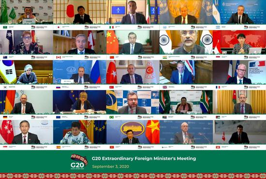 Photo taken on Sept. 3, 2020 in Riyadh, Saudi Arabia shows G20 foreign ministers attending the virtual G20 Extraordinary Foreign Minister's Meeting. (G20 Saudi Arabia/Handout via Xinhua)