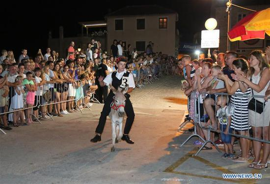 A rider rides a donkey during the 51st traditional donkey races in Tribunj, Croatia, on Aug. 1, 2018. The event which dates back to 1950s features donkey-riders in traditional costumes racing around the village of Tribunj. (Xinhua/Dusko Jaramaz)