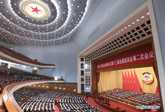 The third plenary meeting of the second session of the 13th National Committee of the Chinese People's Political Consultative Conference (CPPCC) is held at the Great Hall of the People in Beijing, capital of China, March 10, 2019. (Xinhua/Rao Aimin)