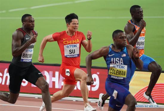 Su Bingtian (2nd L) of China competes during the men's 100m semi-final at the 2019 IAAF World Athletics Championships in Doha, Qatar, on Sept. 28, 2019. (Xinhua/Xu Suhui)