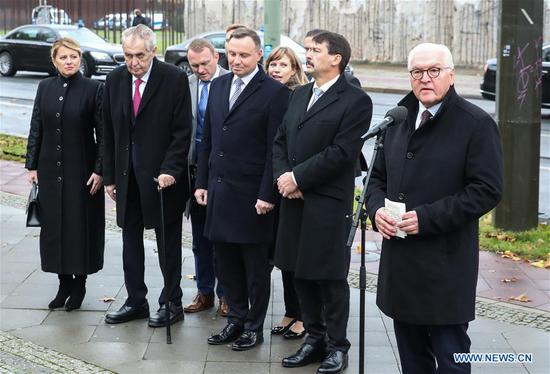German President Frank-Walter Steinmeier (1st R, Front), Hungarian President Janos Ader (2nd R, Front), Polish President Andrzej Duda (C, Front), Czech President Milos Zeman (2nd L, Front), and Slovak President Zuzana Caputova (1st L, Front) attend a commemoration to mark the 30th anniversary of the fall of the Berlin Wall in Berlin, capital of Germany, on Nov. 9, 2019. Germany marked the 30th anniversary of the fall of the Berlin Wall on Saturday. (Xinhua/Shan Yuqi)