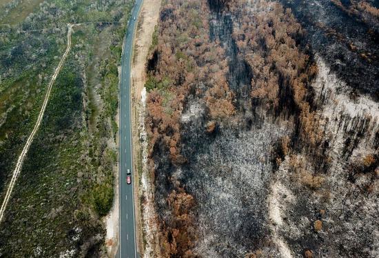 Aerial photo taken on Nov. 11, 2019 shows burnt bushes near Port Macquarie, New South Wales, Australia. (Xinhua/Bai Xuefei)