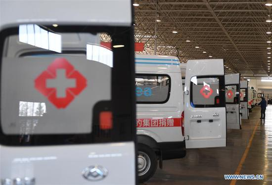 Negative pressure ambulances are seen in a factory of SAIC Motor Co., Ltd. in Wuxi, east China's Jiangsu Province, Feb. 16, 2020. The company rushes to make negative pressure ambulances to meet the needs of hospitals in the prevention and control of the novel coronavirus pneumonia epidemic. (Xinhua/Ji Chunpeng)