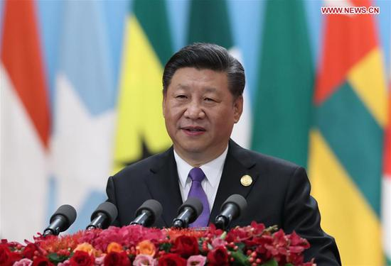 """Chinese President Xi Jinping delivers a keynote speech titled """"Work Together for Common Development and a Shared Future"""" at the opening ceremony of the Beijing Summit of the Forum on China-Africa Cooperation (FOCAC) at the Great Hall of the People in Beijing, capital of China, Sept. 3, 2018. The FOCAC Beijing Summit opened here on Monday. (Xinhua/Huang Jingwen)"""