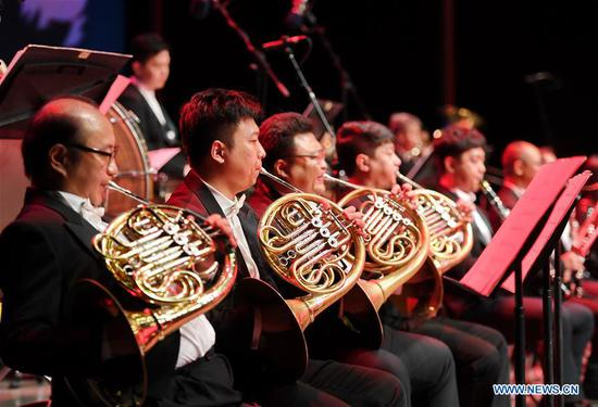 Musicians play music of classic movies on stage during the 5th Silk Road International Film Festival (Fuzhou Section) in Fuzhou, capital of southeast China's Fujian Province, Oct. 8, 2018. The 5th Silk Road International Film Festival kicked off in Xi'an, capital of northwest China's Shaanxi Province, on Monday, with some activities hosted in its alternate counterpart Fuzhou. (Xinhua/Lin Shanchuan)