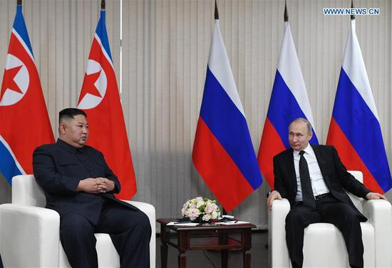 Russian President Vladimir Putin (R) meets with top leader of the Democratic People's Republic of Korea (DPRK) Kim Jong Un in Vladivostok, Russia, April 25, 2019. (Xinhua/Sputnik)