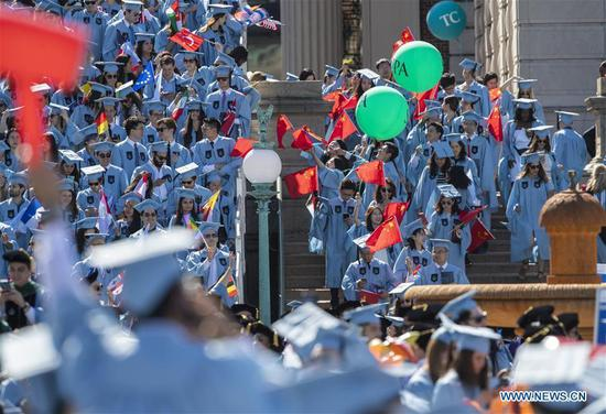 Graduate students enter the venue before the Columbia University Commencement ceremony in New York, the United States, May 22, 2019. The Columbia University Commencement ceremony of the 265th academic year took place on Wednesday. More than 17,000 students from Columbia's 18 schools and affiliates graduated this year. (Xinhua/Wang Ying)