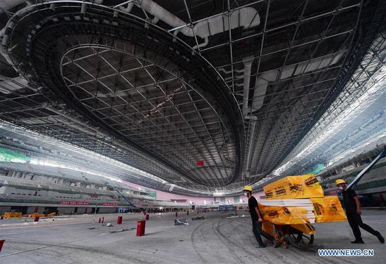 Photo taken on July 28, 2020 shows an inner view of the National Speed Skating Oval, also known as the