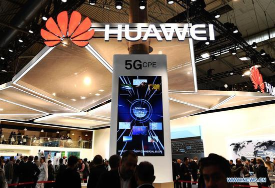 China's telecom giant Huawei displays 5G technology at the 2018 Mobile World Congress in Barcelona, Spain, Feb. 26, 2018. (Xinhua/Guo Qiuda)