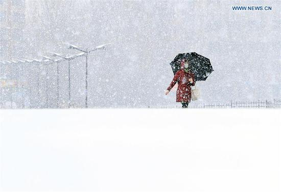 A citizen walks in snow in Changchun, capital of northeast China's Jilin Province, Nov. 13, 2019. A snowfall hit Changchun on Wednesday. (Xinhua/Luo Yuan)