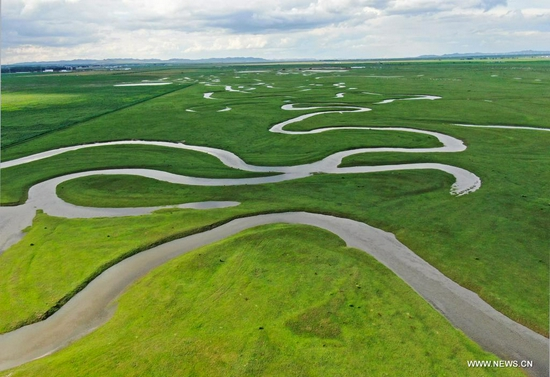 Aerial photo taken on July 17, 2021 shows a view of the grassland in Saibei management district of Zhangjiakou, north China's Hebei Province. (Photo by Wu Diansen/Xinhua)