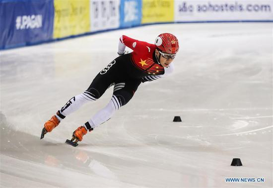 China's Ren Ziwei competes during the final of the men 1500m event at 2019-2020 ISU short track World Cup in Dresden, Germany, Feb. 8, 2020. (Xinhua/Shan Yuqi)