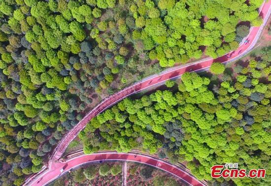 An aerial view of a pathway on Gexian Mountain in Pengzhou City, Sichuan Province. Eastern Fujian Province was responsible for the post-quake construction of Pengzhou City. (Photo: China News Service/Luo Guoyang)