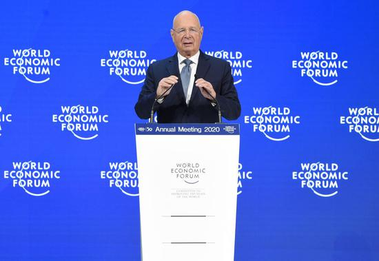 Klaus Schwab, founder and executive chairman of the World Economic Forum (WEF), speaks at the WEF annual meeting in Davos, Switzerland, Jan. 21, 2020. (Xinhua/Guo Chen)