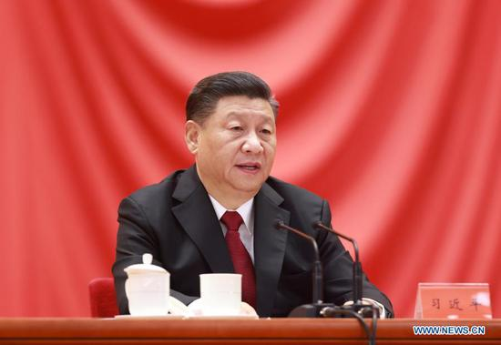 Chinese President Xi Jinping, also general secretary of the Communist Party of China (CPC) Central Committee and chairman of the Central Military Commission, delivers a speech at a gathering to honor model workers and exemplary individuals at the Great Hall of the People in Beijing, capital of China, Nov. 24, 2020. (Xinhua/Ding Lin)