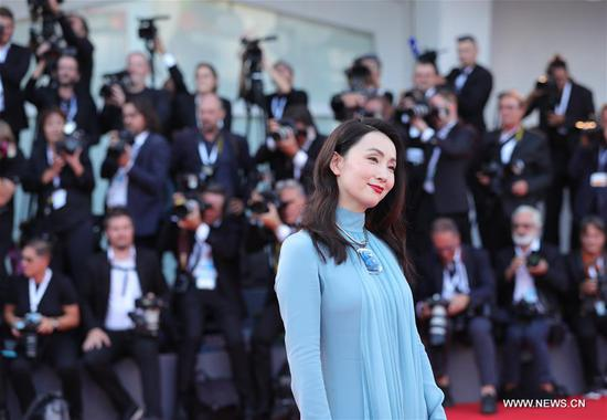 Chinese actress Tao Hong poses on the red carpet of the 75th Venice International Film Festival in Venice, Italy, Aug. 29, 2018. The 75th Venice International Film Festival kicked off here on Wednesday. (Xinhua/Cheng Tingting)