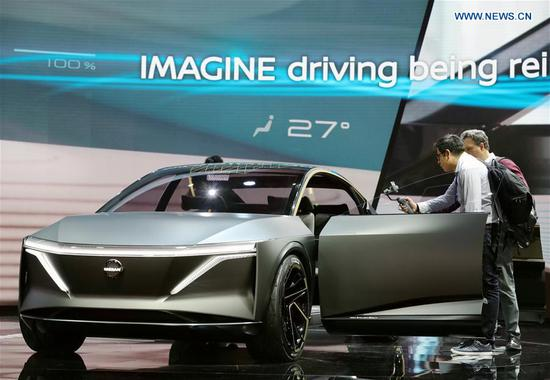 Photo taken on Jan. 15, 2019 shows a Nissan EV concept vehicle IMs at the 2019 North American International Auto Show (NAIAS) in Detroit, the United States. The annual Detroit auto show opened Monday and will last till Jan. 27. (Xinhua/Wang Ping)