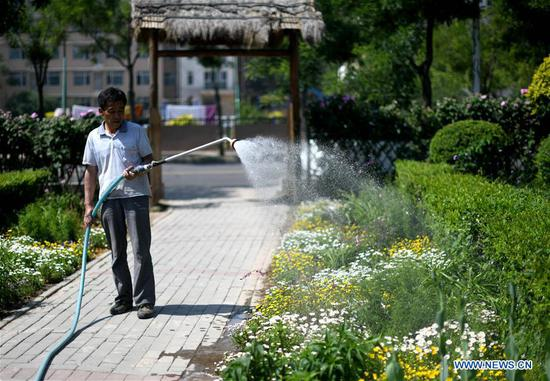 A staff member waters flowers in a botanical garden in north China's Tianjin Economic-Technological Development Area (TEDA), May 23, 2019. Nearly ten years of greening efforts have successfully transformed a saline-alkaline marsh into a botanical garden with over 6,000 species of plants. The garden now serves as a plant resource bank in TEDA for scientific research, scientific education, demonstration and entertainment purposes. (Xinhua/Yue Yuewei)