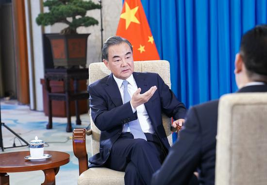 Chinese State Councilor and Foreign Minister Wang Yi gives an exclusive interview to Xinhua on China-U.S. ties in Beijing, capital of China, Aug. 5, 2020. (Xinhua/Zhai Jianlan)