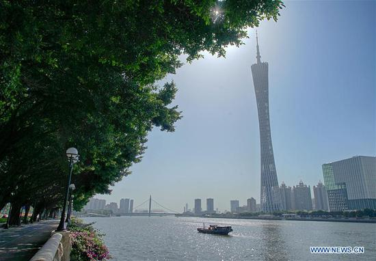 Photo taken from Ersha Island on April 8, 2018 shows the view of Canton Tower in Guangzhou City, capital of south China's Guangdong Province. (Xinhua/Cai Yang)
