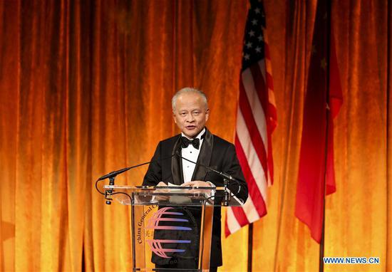 Chinese Ambassador to the United States Cui Tiankai delivers a keynote speech during the Chinese Lunar New Year of the Pig Gala in New York, the United States, Jan. 7, 2019. The China General Chamber of Commerce -- USA (CGCC-USA) held the 2019 Chinese Lunar New Year Gala on Monday, participated by representatives of governments and companies from both U.S. and China. (Xinhua/Wang Ying)