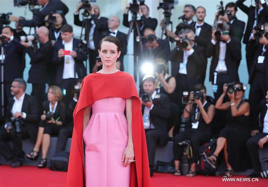 Actress Claire Foy poses on the red carpet of the 75th Venice International Film Festival in Venice, Italy, Aug. 29, 2018. The 75th Venice International Film Festival kicked off here on Wednesday. (Xinhua/Cheng Tingting)
