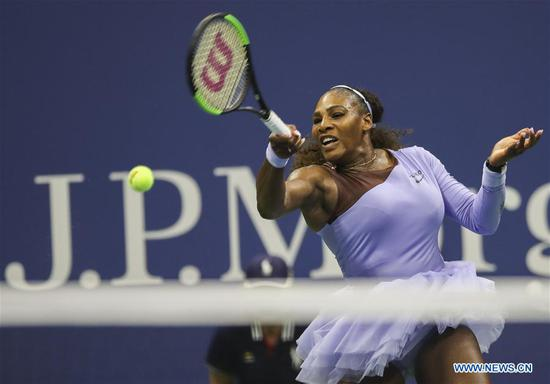 Serena Williams of United States hits a return during the women's singles semi-final match against Anastasija Sevastova of Latvia at the 2018 US Open in New York, the United States, Sept. 6, 2018. Williams won 2-0. (Xinhua/Wang Ying)