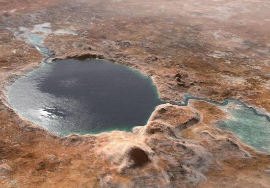 This illustration shows Jezero Crater, the landing site of the Mars 2020 Perseverance rover, as it may have looked billions of years go on Mars, when it was a lake. An inlet and outlet are also visible on either side of the lake. (Image credit: NASA)