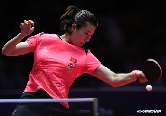 Ding Ning of China returns the ball during the women's singles final match against Wang Manyu of China at the 2018 ITTF World tour China Open in Shenzhen, south China's Guangdong Province, on June 3, 2018. Wang Manyu claimed the title by defeating Ding Ning with 4-3 in the final. (Xinhua/Wang Dongzhen)