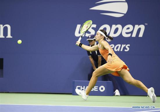 Anastasija Sevastova of Latvia hits a return during the women's singles semi-final match against Serena Williams of United States at the 2018 US Open in New York, the United States, Sept. 6, 2018. Sevastova lost 0-2. (Xinhua/Wang Ying)
