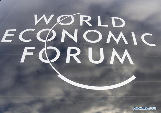 Photo taken on Jan. 21, 2019 shows the logo of the World Economic Forum (WEF) in Davos, Switzerland. The WEF Annual Meeting will kick off in Davos on Tuesday. (Xinhua/Xu Jinquan)