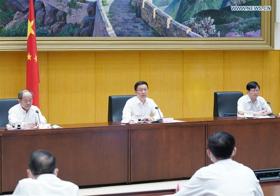 Chinese Vice Premier Han Zheng, also a member of the Standing Committee of the Political Bureau of the Communist Party of China Central Committee and head of a leading group for China's seventh national population census, addresses a teleconference on the census in Beijing, capital of China, July 29, 2020. (Xinhua/Wang Ye)