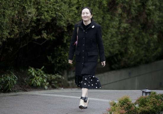 China's Huawei Chief Financial Officer Meng Wanzhou leaves her residence for the extradition hearing in Vancouver, Canada, Jan. 20, 2020. (Photo by Harrison Ha/Xinhua)