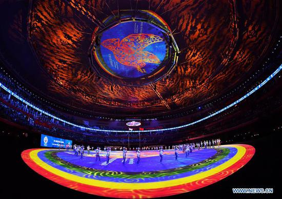 Photo taken on Oct. 27, 2019 shows the closing ceremony of the 7th CISM Military World Games in Wuhan, capital of central China's Hubei Province. (Xinhua/Xiong Qi)