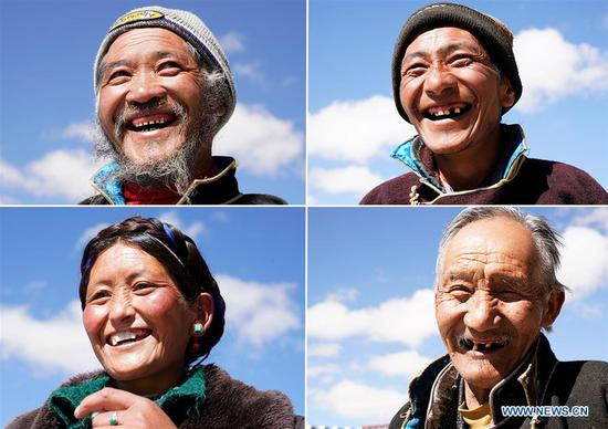 Combo photo shows villagers posing for photos in front of their new houses in Pumaqangtang Township of Shannan, southwest China's Tibet Autonomous Region, April 16, 2020. Southwest China's Tibet Autonomous Region has accomplished the historical feat of eradicating absolute poverty, according to a press briefing held in the regional capital of Lhasa on Thursday. (Xinhua/Purbu Zhaxi)