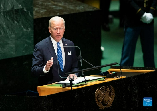 U.S. President Joe Biden speaks during the General Debate of the 76th session of the United Nations General Assembly at the UN headquarters in New York, on Sept. 21, 2021. Biden said in a speech at the United Nations on Tuesday that the United States is opening a new chapter of diplomacy after ending the two-decade Afghan war. (Xinhua/Wang Ying)
