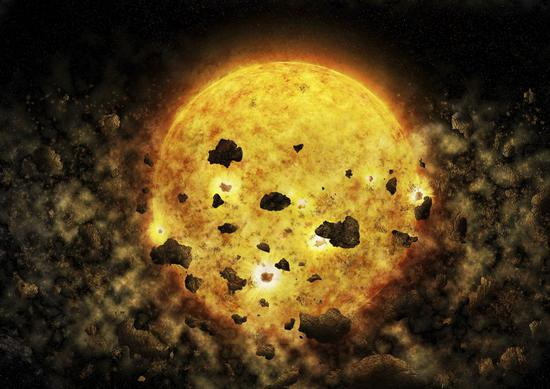 This illustration provided by NASA depicts debris surrounding the star RW Aur A, about 450 light-years away from the Earth. In the Wednesday, July 18, 2018 edition of the Astronomical Journal, astronomers said they may have caught the star munching on a planet or mini-planets. (M. Weiss/CXC/NASA via AP)