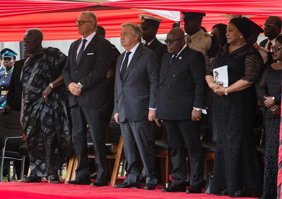 Ghanaian President Nana Akufo-Addo (4th L, front) and United Nations Secretary-General Antonio Guterres (3rd L, front) attend the state funeral of former UN Secretary-General Kofi Annan in Accra, Ghana, on Sept. 13, 2018. A number of African and world leaders joined Ghanaian President Nana Akufo-Addo here on Thursday to bid farewell to former United Nations Secretary-General Kofi Annan, who passed away in Switzerland on Aug. 18. (Xinhua/Fred Bonsu)