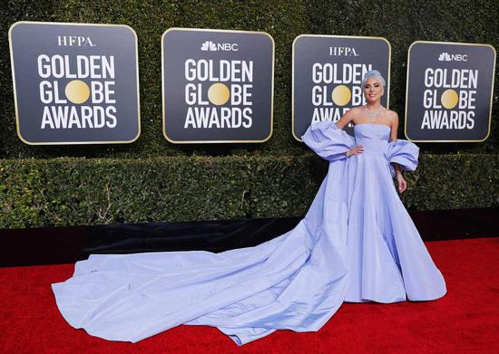 Actress-singer Lady Gaga arrives at the 76th annual Golden Globe Awards at the Beverly Hilton Hotel on Jan 6, 2019, in Beverly Hills, United States. [Photo/Agencies]