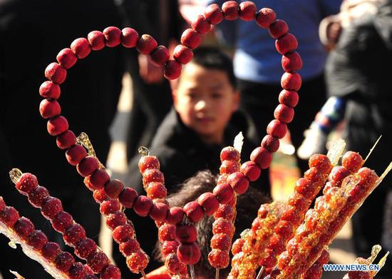A child looks at tanghulu, a traditional Chinese snack of candied fruit, during an activity to greet the upcoming Lantern Festival in Lihua Village of Renqiu, north China's Hebei Province, Feb. 17, 2019. The traditional Chinese Lantern Festival falls on Feb. 19 this year. (Xinhua/Mu Yu)