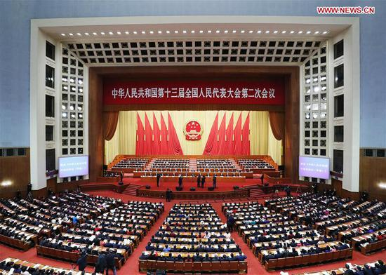 The second session of the 13th National People's Congress (NPC) holds its closing meeting at the Great Hall of the People in Beijing, capital of China, March 15, 2019. (Xinhua/Liu Bin)
