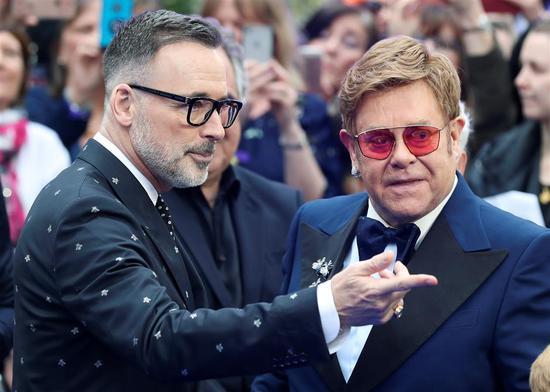 Elton John and his husband David Furnish attend the UK premiere of the Elton John biopic 'Rocketman' in London, Britain, May 20, 2019.